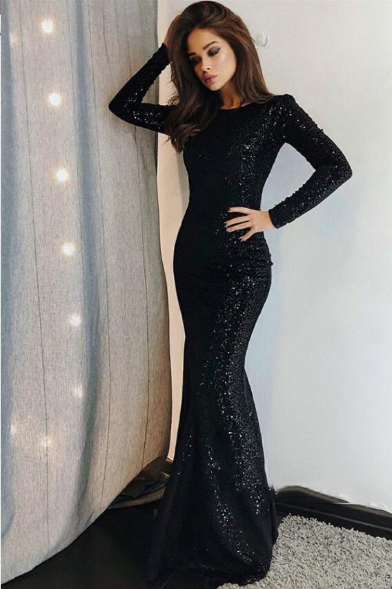 Long Sleeves Round Collar Mermaid Prom Dress Black Sequins Long Chiffon