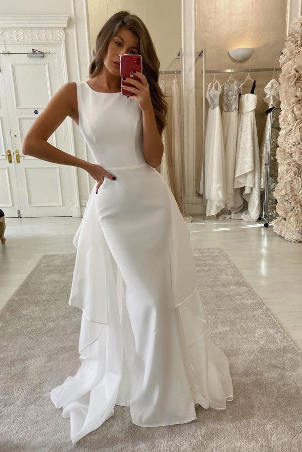 Boho Chiffon Round Collar Mermaid Wedding Dress Two-piece Long