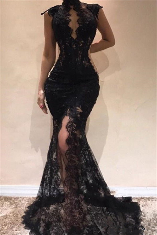 Ballbella offers beautiful Sleeveless Front Split Evening Dresses Black High Neck Lace Chic Prom Dresses to fit your style,  body type &Elegant sense. Check out the latest selection and find the Mermaid Prom Party Gowns of your dreams!