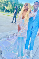 Looking for Prom Dresses, Evening Dresses in Bright silk,  Mermaid style,  and Gorgeous work? Ballbella has all covered on this elegant Glitter Long Sleeves Mermaid Evening Gowns Charming Prom Party GownsSweep Train.