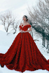 Looking for Prom Dresses and Evening Dresses in A-line style,  and Gorgeous 3d flowers work? Ballbella has all covered on this elegant Off-the-Shoulder 3D Floral Printed Ball Gown for Girl Evening Party Dresses.