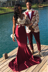Try to find cheap prom dresses online? Ballbella offer you Burgundy Spaghetti Straps Applique Mermaid Sleeveless Prom Dresses available in 30 colors and 2-26w sizes,  and also free custom make service.