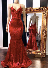 Looking for Prom Dresses, Evening Dresses, Real Model Series in Sequined,  Mermaid style,  and Gorgeous Sequined work? Ballbella has all covered on this elegant Spaghetti Straps Lace-up Red Sequins V-neck Mermaid Prom Dresses.