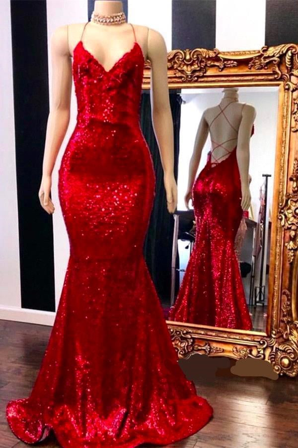 Spaghetti Straps Lace-up Red Sequins V-neck Mermaid Prom Dresses