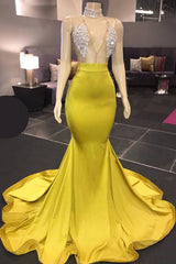 Ballbella custom made this Chic Yellow Sleeveless Crystals Sheer Tulle Prom Dresses New Arrival for womens in all shape. We offer worldwide free shipping also with special offers.