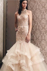 Elegant Mermaid Light Champagne Tulle High Neck Beading Prom Party Gowns| Evening Dress