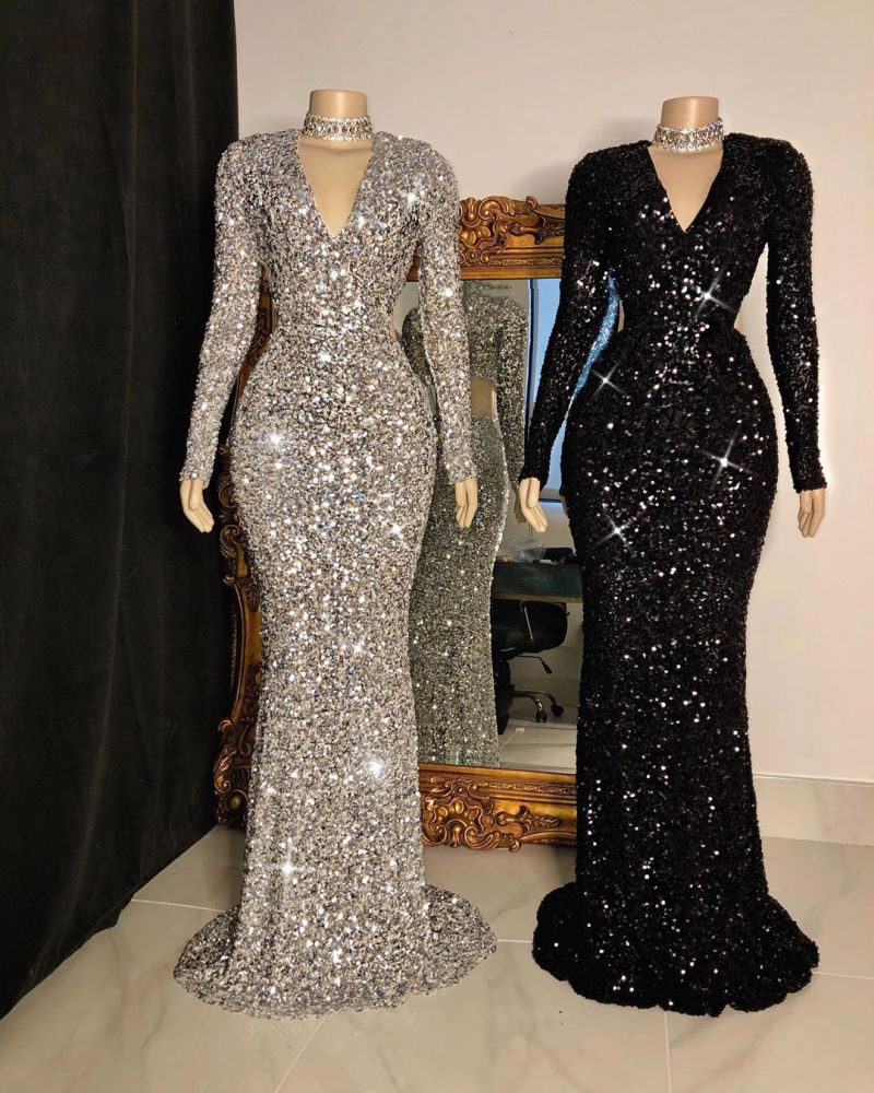 Looking for Prom Dresses, Evening Dresses, Real Model Series in Sequined,  Column style,  and Gorgeous Sequined work? Ballbella has all covered on this elegant Glittering Crystal Sequins Long Sleevess V-neck Mermaid Prom Dresses.