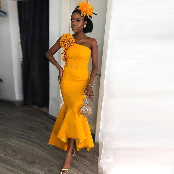 Wanna Evening Dresses, Homecoming Dresses, Bridesmaid Dresses in Stretch Satin, Elastic Silk-like Satin,  Mermaid style,  and delicate  work? Ballbella has all covered on this elegant One-shoulder Yellow Mermaid Ankle-length Evening Dress with hand-made Flowers Bridesmaid Dresses under $100 yet cheap price.