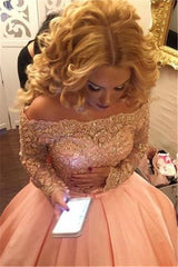 Off-the-Shoulder Long Sleeves Evening Dresses Lace Puffy Skirt Prom Dresses On Sale