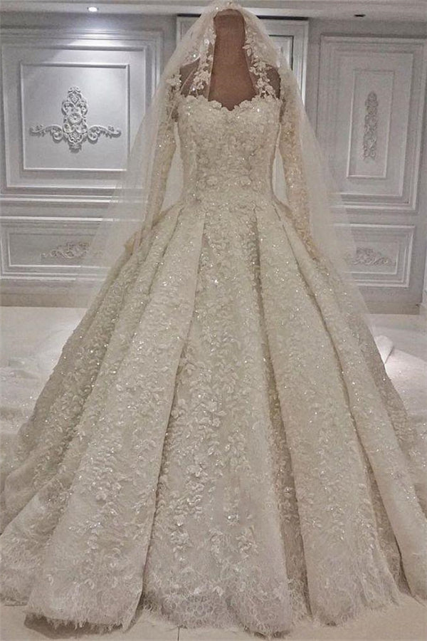 Expensive Lace Appliques Long Sleevess Ball Gown Wedding Dress