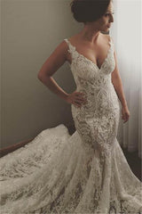 V neck Sleeveless Mermaid Wedding Dresses Modern Lace Appliques Bridal Gown