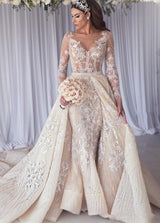 Inspired by this wedding dress at ballbella.com,Mermaid style, and Amazing Lace work? We meet all your need with this Classic Modern Long Sleeves Lace Mermaid Overskirt Wedding Dress Bridal Gowns.