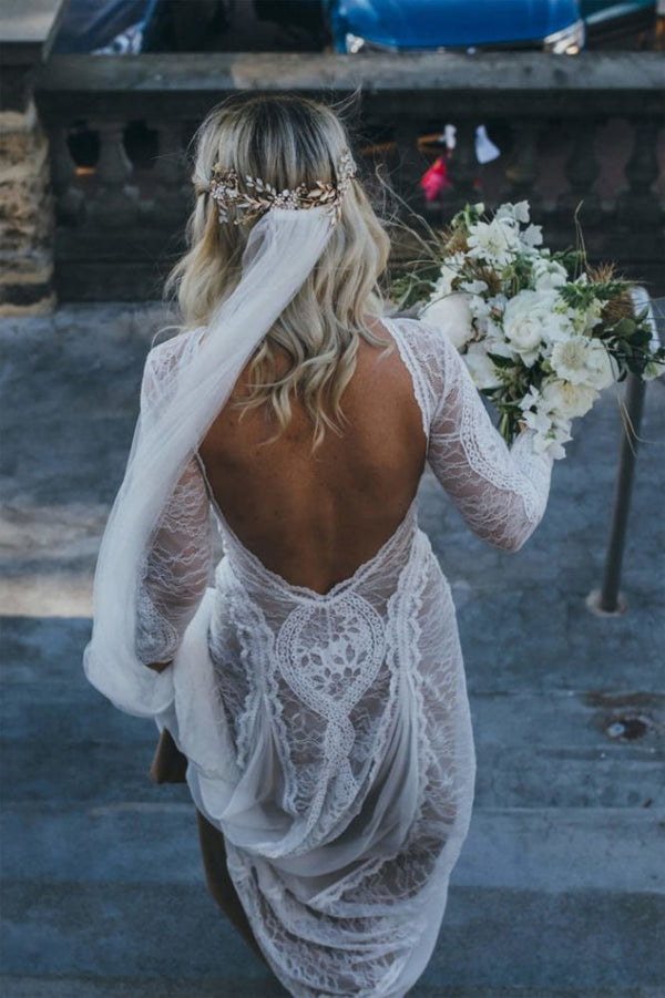 Wanna get a dress in 30D Chiffon, A-line style, and delicate Lace work? Ballbella custom made you this Classic Beach Long Sleevess Backless Lace Beach Wedding Dress Simple Summer Casual Bridal Gowns Online at factory price.
