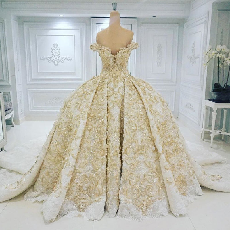 Ballbella offers Off-the-shoulder Golden Lace Appliques Formal Ball Gown Wedding Dress online at an affordable price from to Ball Gown skirts. Shop for Amazing wedding collections for your big day.