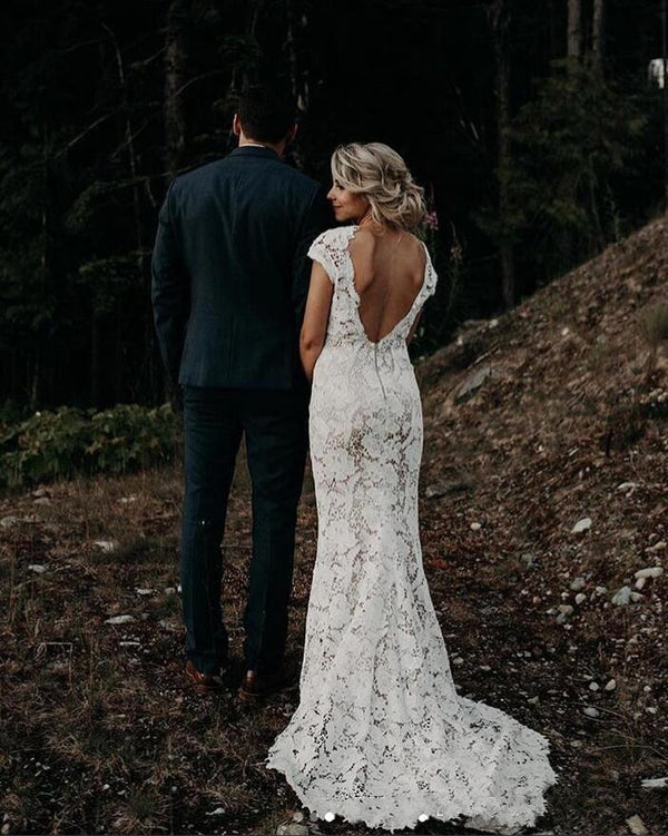 Ballbella custom made you this Cap sleeves Modern Backless Lace Ivory Court Train Beach Wedding Dress comes in all sizes and colors. Welcome to pick the most fabulous style today, extra coupons to save a lot.