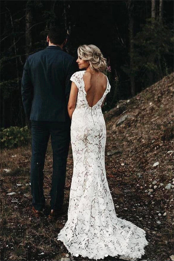 Cap sleeves Modern Backless Lace Ivory Court Train Beach Wedding Dress