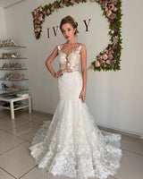 Ballbella offers Illusion neck White Lace Sleeveless Mermaid Wedding Dress at factory price from White,Ivory,Champagne,Black, Lace to Mermaid hem. Extra coupon to save a heap.