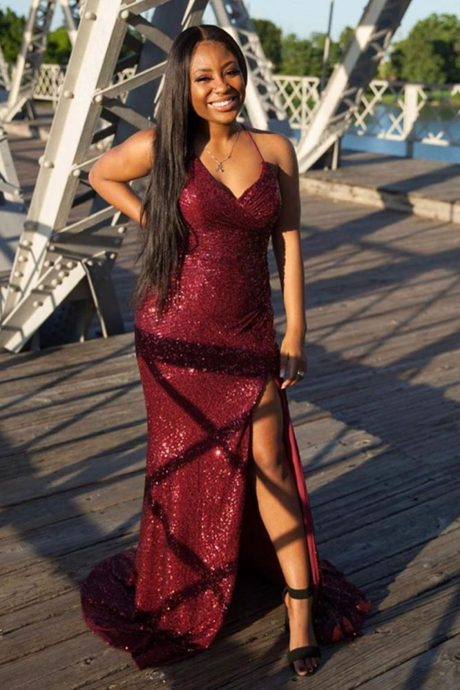 Looking for Prom Dresses, Evening Dresses in Sequined,  high split style,  and Gorgeous Split Front work? Ballbella has all covered on this elegant Glitter Sequins Spaghetti Prom Party Dress Splitfront Cocktail Party Dress.