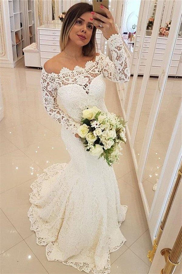AmazingLong Sleeves Appliques Mermaid Wedding Bridal Dress