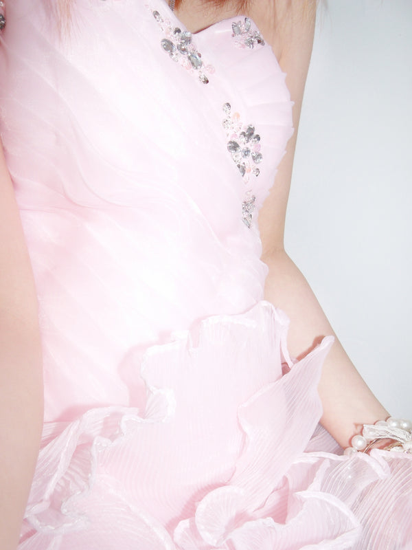 A-line Sweetheart Knee Length Tulle Flower Rhinestone Homecoming Dress
