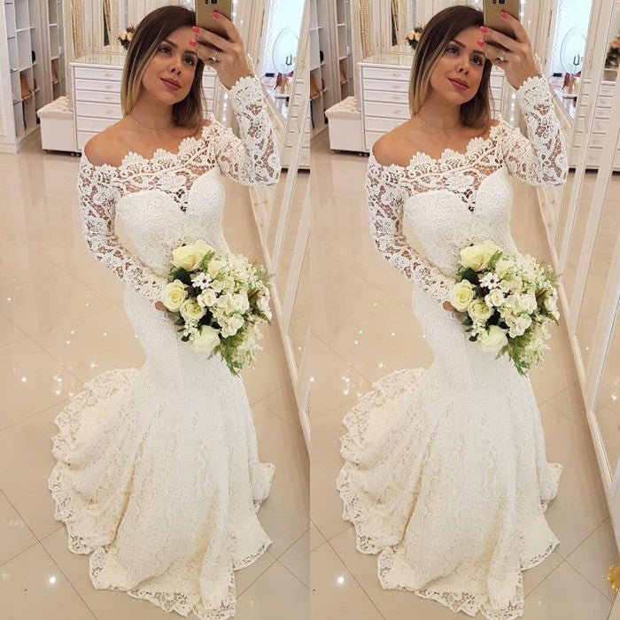Inspired by this wedding dress at ballbella.com,Mermaid style, and Amazing Lace work? We meet all your need with this Classic AmazingLong Sleeves Appliques Mermaid Wedding Bridal Dress