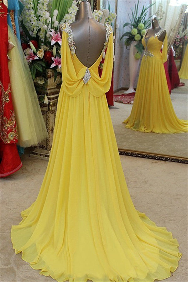Still not know where to get your event dresses online? Ballbella offer you Affordable Yellow Spaghetti Strap Open Back Prom Dresses Sleeveless Applique Evening Dresses with Beadss at factory price,  fast delivery worldwide.