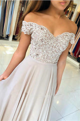 Off-the-Shoulder Lace Prom Dresses On Sale Sheer Tulle Chiffon Long Formal Evening Gowns with Buttons