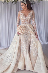Modern Long Sleeves Lace Mermaid Overskirt Wedding Dress Bridal Gowns