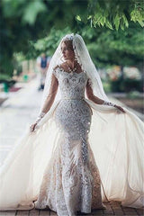 Glamorous Mermaid Long Sleevess Lace Wedding Dresses Scoop Appliques Detachable Skirt Bridal Gowns