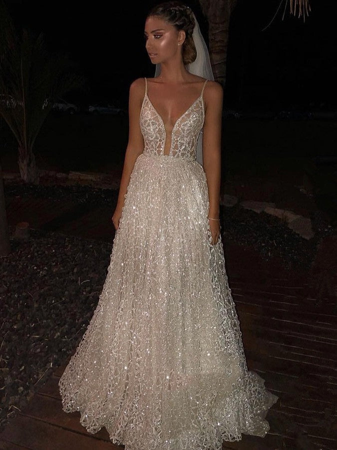 Ballbella offers Charming White Spaghetti-Strap A-Line Sequins Wedding Dress Shining Long Prom Gowns On Sale at an affordable price from  to A-line  skirts. Shop for gorgeous Sleeveless  collections for wedding events.