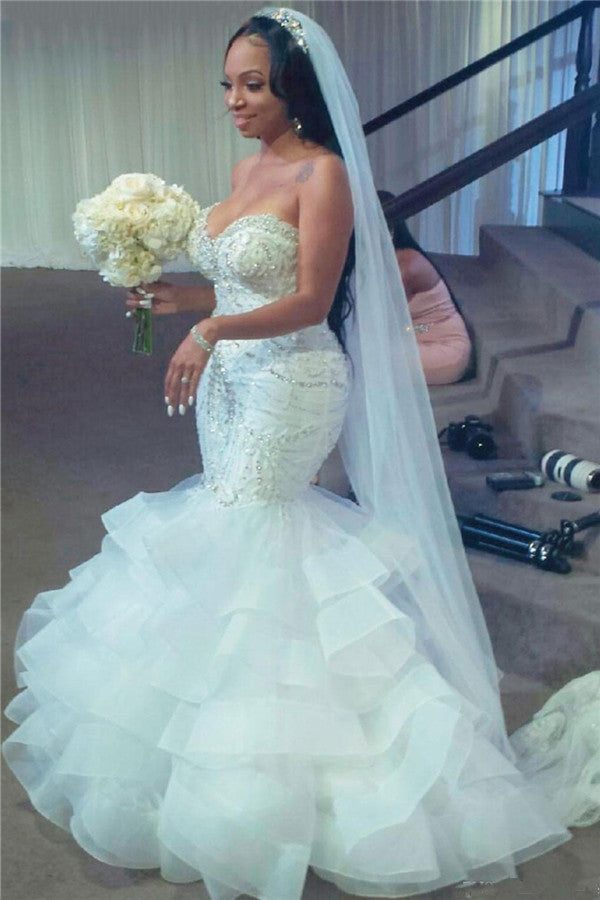 Mermaid Sweetheart Short Train Organza Paillette Applique Wedding Dress