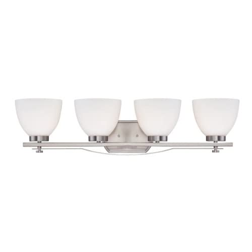 60/5019-Bentley-Four-Light-Vanity-100-Watt-A19-Max.-CUL-Damp-Location-Frosted-Glass-Brushed-Nickel-Fixture