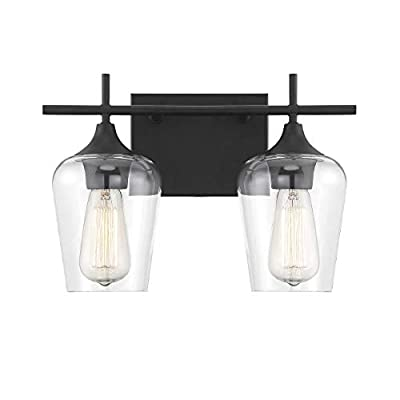 8-4030-2-BK-Octave-2-Light-Bathroom-Vanity-Light-in-a-Black-Finish-with-Clear-Glass-(14'-W-x-9'-H)