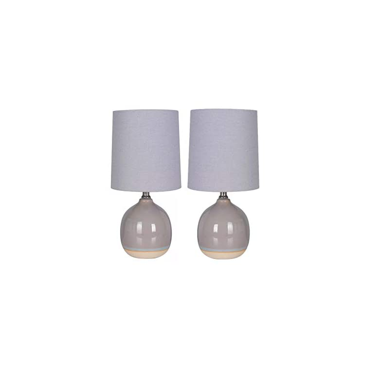 Round-Ceramic-Set-of-2-Table-Lamps-Gray-Bedside-Nightstand-with-Textur