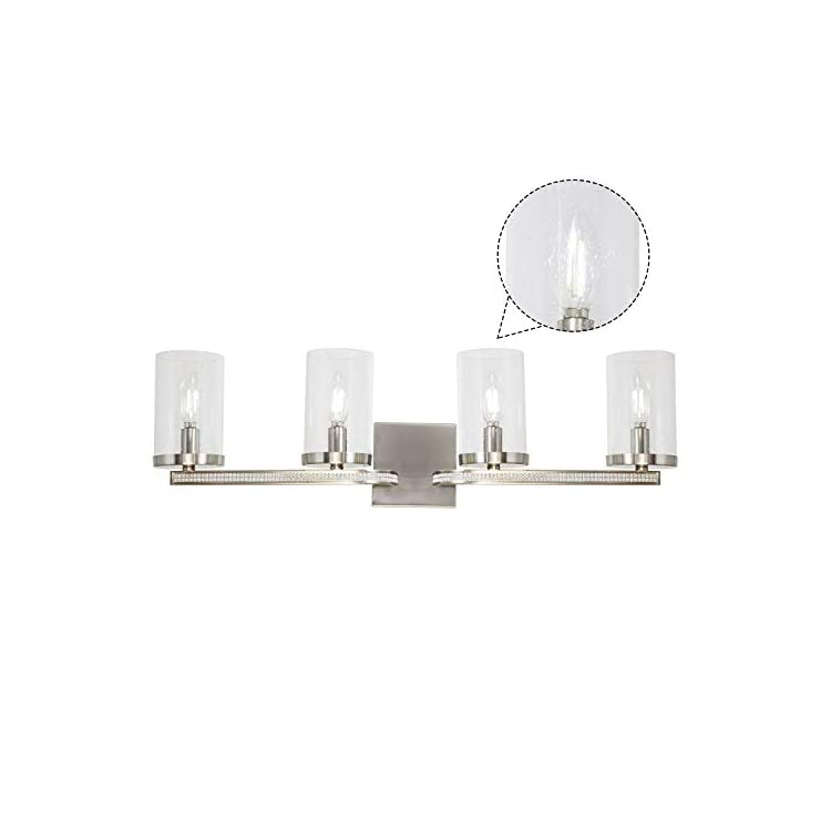 4-Light-Vanity-Lighting-Diamond-Decoration-Wall-Light,-Brushed-Nickel-Bathroom-lamp-with-Clear-Seedy-Glass,-Dining-Room,Bedroom-Bedside,Living-Room,Hallway-Wall-Lighting