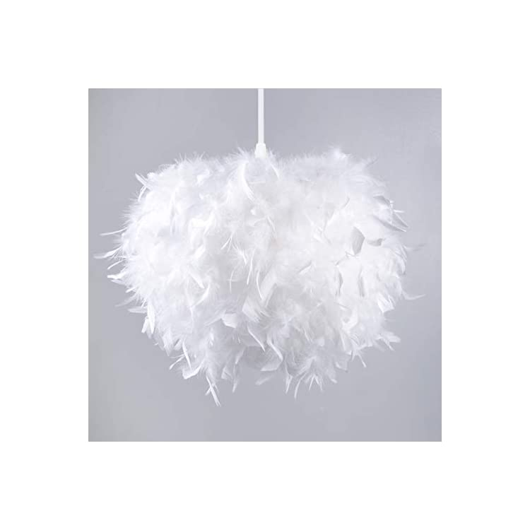 LSHF010-Round-Chandelier-Shade,-Feather-White,-14'-Diameter,