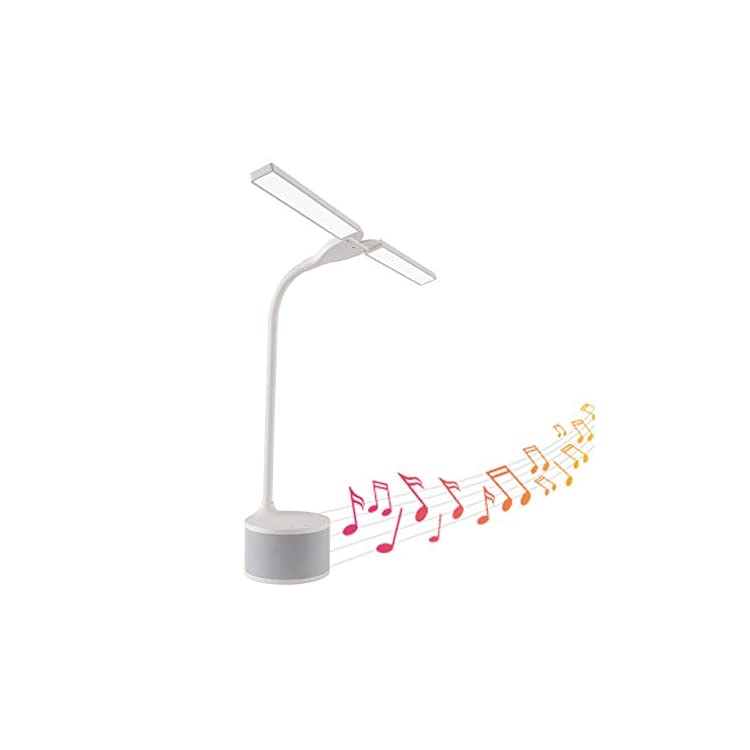 LED-Dual-Head-Desk-Lamp-with-Bluetooth-Speaker,-White