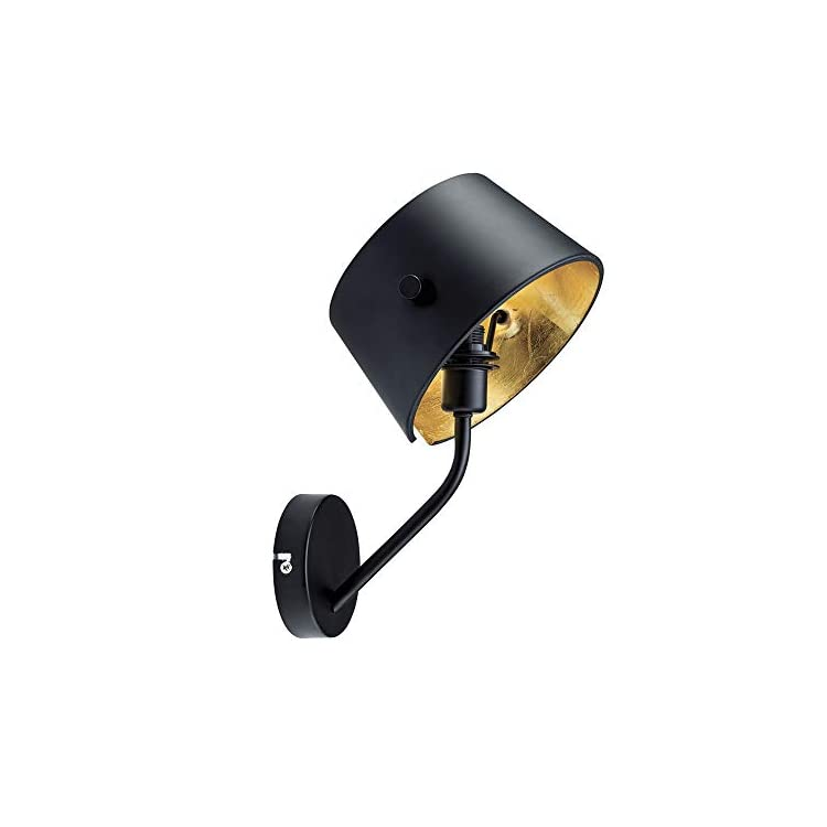 Zenith---Armed-Wall-Lamp-Sconce-for-Living-Room-Bedroom---Satin-Black-Painting,-Brass-Foil-Inside-Finish-Hardwire-Wall-Light---Black-&-Gold---7-Inch-(Black)