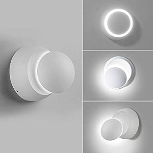 360°-Rotation-Adjustment-5W-Modern-Roud-Circle-LED-Wall-Sconce-Indoor-Wall-Light-LED-for-Living-Room-Corridors-Bedroom-Bedside-Reading-Room-Gallery-Wall-Lamp-Decoration-(White,White-4000K)