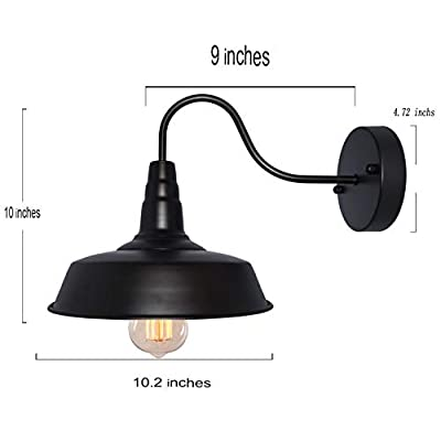 #61 Retro Black Wall Sconce Lighting Gooseneck Barn Flat Lights Industrial Vintage Farmhouse Wall Lamp Outside Led Light Fixtures Set of Two Hardwired (2 Packs)