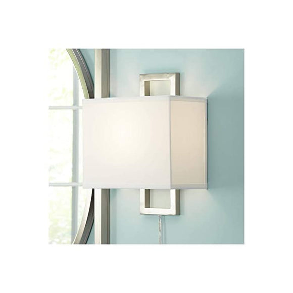 Aundria-Modern-Wall-Lamp-Plug-in-Rectangular-Brushed-Nickel-White-Shade-for-Living-Room-Bedroom-Reading--