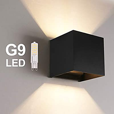 LED-Outdoor-Wall-Lamp-Indoor,-Waterproof-IP65-Aluminum-LED-Wall-Lighting-Replaceable-G9-LED-Bulb-for-Living-Room,-Bathroom,-Hallway,-Balcony,-Stairs,-Path,-Patio-3000K-Warm-White
