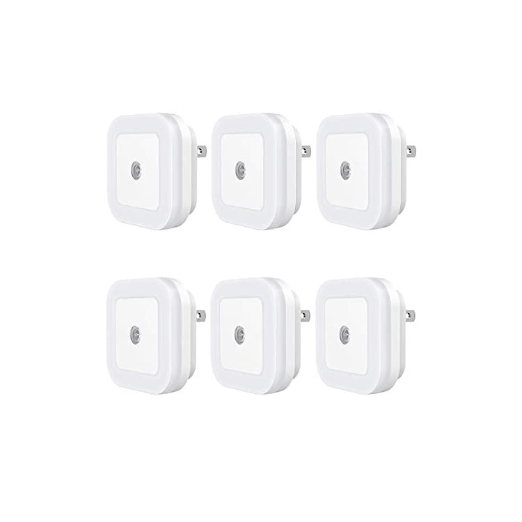 SC01-Plug-in-LED-Night-Light-Lamp-with-Dusk-to-Dawn-Sensor-for-Hallway,-Kitchen,-Bathroom,-Bedroom,-Stairs,-Daylight-White,-6-Pack-(Daylight-White)-(White)