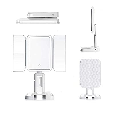 Makeup-Mirror-Vanity-Mirror-with-Lights-Led-Mirror-68-LED-Lights-Vanity-Touch-Lighting-Trifold-Makeup-Mirror-Fog-Resistant-Glass-3-Color-Light-Modes-1X-2X-3X