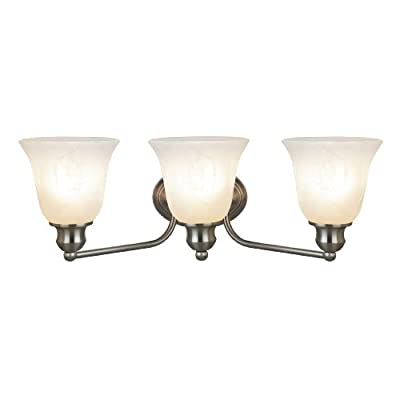 Lighting-CH21006BN21-BL3-'Gauss'-Transitional-3-Light-Brushed-Nickel-Bath-Vanity-Wall-Fixture-White-Alabaster-Glass-21'-Wide