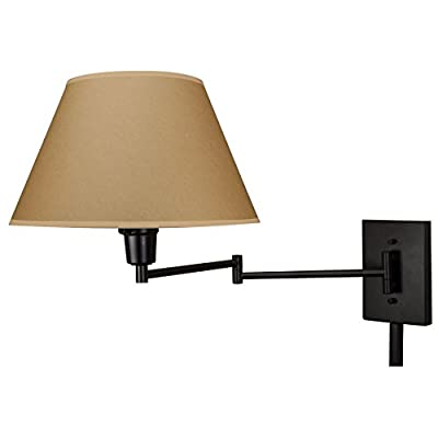 Cambridge-13'-Swing-Arm-Wall-Lamp---Plug-in/Wall-Mount,-Opaque-Paper-Shade,-150W-3-Way-+-Cord-Covers,-Black-Finish