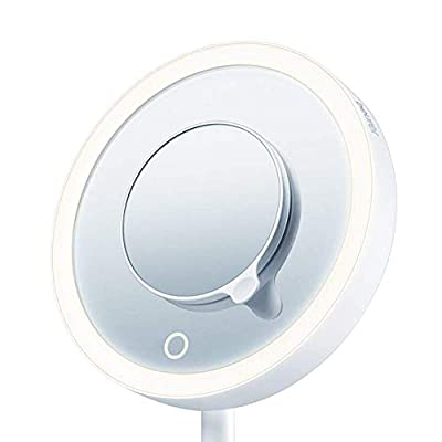 Illuminated-5x-Vanity-and-Cosmetics-Mirror,-Touch-Sensor-Surface,-Storage-Tray,-With-Portable,-Magnetic-Magnifying-MakeUp-Mirror,-White-LED-Light-and-Dimmer,-Cordless,-360°-Rotation,-BS45