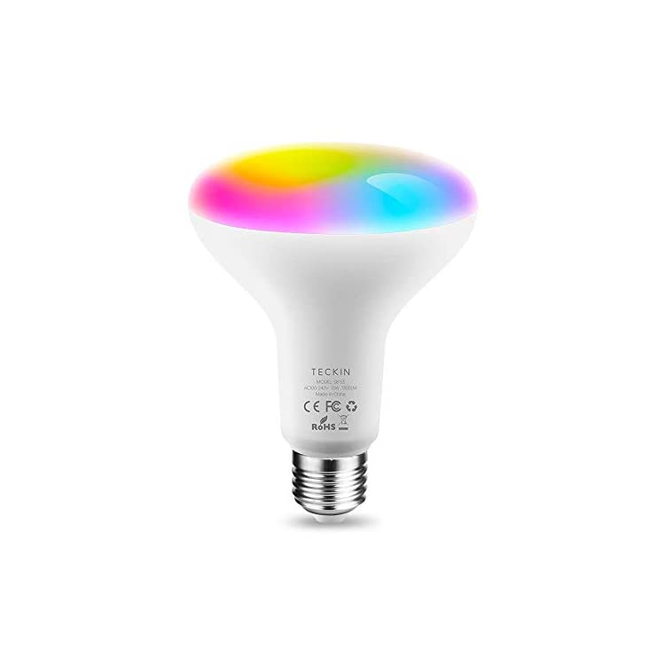 TECKIN-Smart-Light-Bulb,LED-RGB-Color-Changing,E27-100W-1300LM-Equivalent-Compatible-with-Alexa-and-Google-Home,IFTTT,2900K-6000K-BR30-WiFi-Light-Blubs(13W),1-Pack-(Renewed)