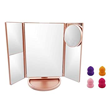 Lighted-Makeup-Mirror,-Led-Lighted-Mirror-with-4-Makeup-Sponges,-1x/2x/3x/10x-Magnification,-Touch-Screen-Switch-and-Light-Adjustment,-180-Degree-Rotation,-Dual-Power-Supply,-Pink