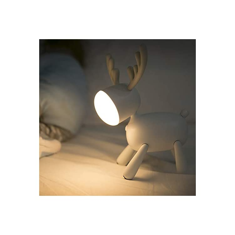 LED-Kids-Night-Light,-Cute-Puppy/Cat/Elk-Soft-Silicone-Baby-Nursery-Lamp-USB-Rechargeable,-Color-Temperature-and-Brightness-Adjustable,-White-and-Warm-can-be-Switched,-Timing-Function-(Elk)